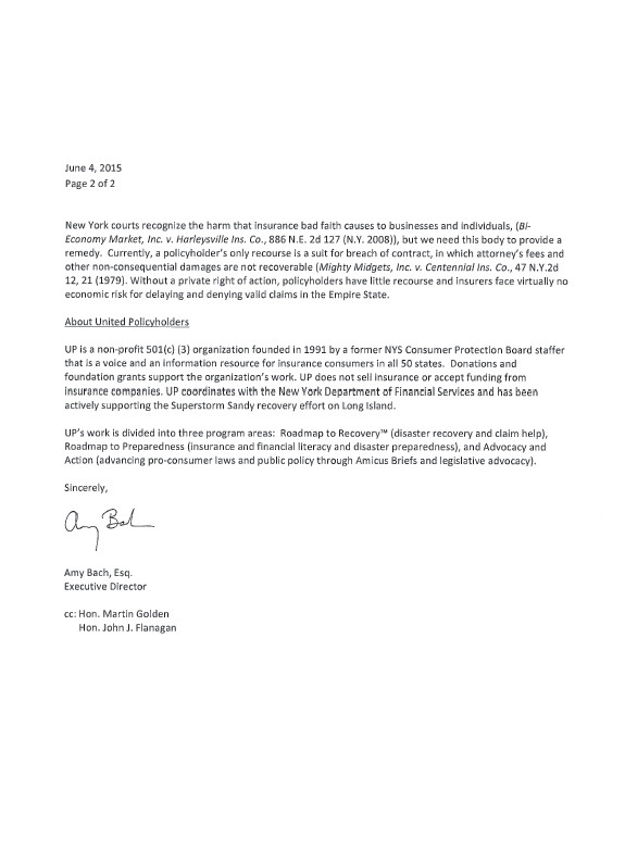 Letter to Senator DeFrancisco to support S28A